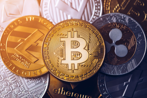 Bitcoin,,Litecoin,And,Ripple,Coins,Currency,Finance,Money,On,Graph-GBO_Image
