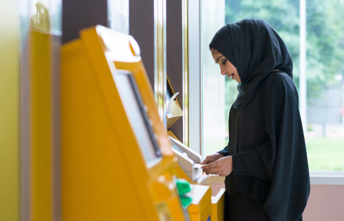 Arab,Woman,And,Automated,Teller,Machine,.,Woman,Withdrawing,Money_GBO_Image